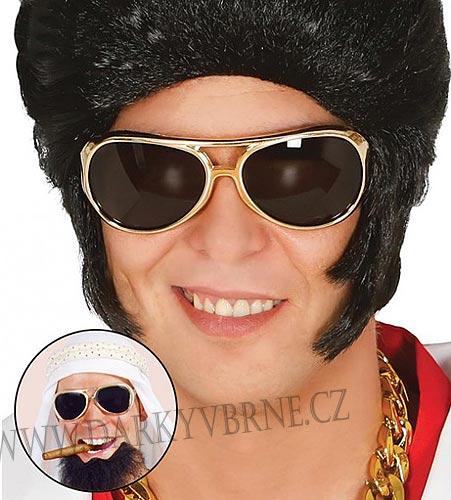 Brýle Elvis (Zlaté brýle UV filtr)
