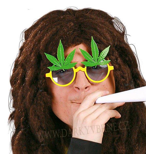Brýle hippie s marihuanou